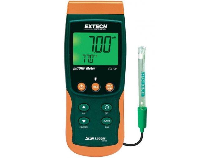 Přístroj pro měření pH a Redox potenciálu s dataloggerem Extech SDL100, 0 - 14 pH
