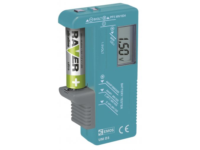 Univerzální tester baterií AA,AAA,C,D,9V, knoflíkové - UNI D3