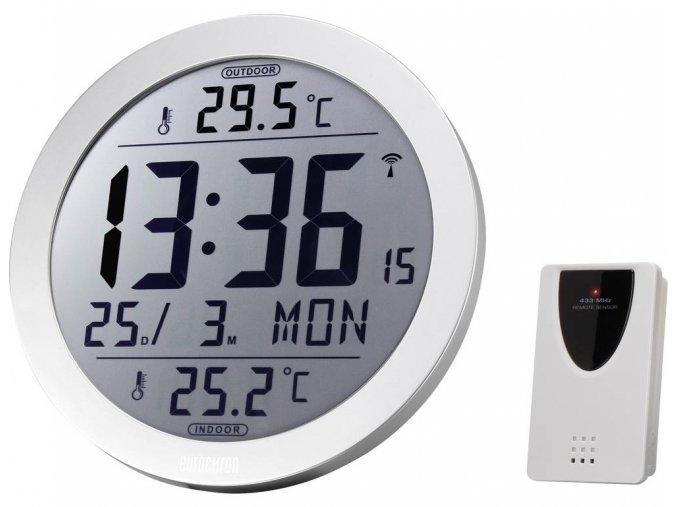 DCF nástěnné hodiny Eurochron EFW 4001 EFW 4001, vnější Ø 210 mm, stříbrná