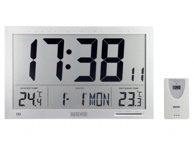 Digitální nástěnné DCF hodiny Eurochron EFWU JUMBO 102 s vnitřní a venkovní teplotou, 368x30x230 mm