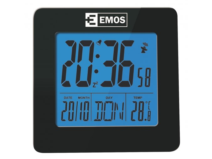 DCF digitální budík, řízený rádiovým signálem, Emos E0113
