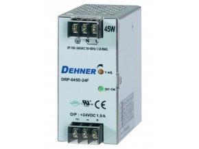 Spínaný síťový zdroj Dehner Elektronik DRP-045D-24F na DIN lištu, 24 V/DC, 1.88 A