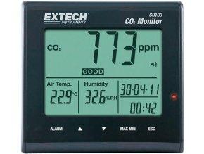 Extech CO100 měřič kvality ovzduší, indikátor oxidu uhličitého, teplota, vlhkost, 0-9999 ppm CO2