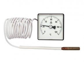 Kapilárový teploměr 0..120 C, 48 x 48 mm, kapilára 1450 mm