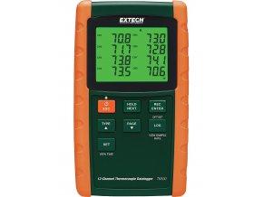 12-ti kanálový registrační teploměr Extech TM500; datalogger pro 6 typů termočlánků
