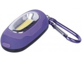 LED svítilna plastová fialová, 1x COB LED, na 2x CR2032