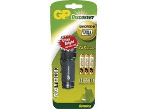 Značková LED svítilna GP LOE203 Discovery Outdoor - 5 Watt CREE, 3x AAA