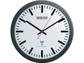 Nádražní DCF hodiny Eurochron EFW 3600, Ø 30 x 3,7 cm, černá