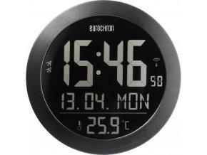 DCF nástěnné hodiny s teploměrem Eurochron EFW 4000 Vnější Ø 205 mm, černá