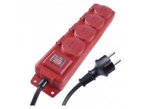 Prodlužovací kabel gumový 4 zásuvky 3m, červený | P14131