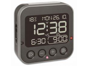 DCF digitální budík BINGO 2.0; TFA 60.2552.01; měření teploty; černý