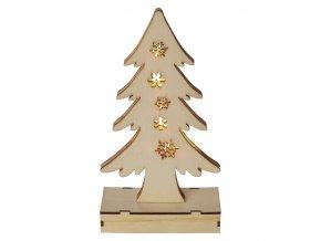 LED vánoční stromek dřevěný, 2xAA, teplá bílá, časovač | ZY2089