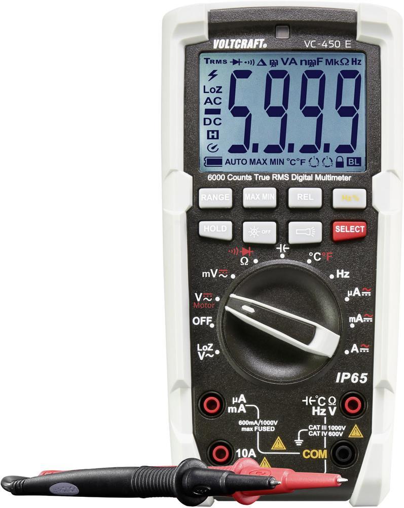 Digitální multimetr VOLTCRAFT VC-450 E, ochrana proti vodě (IP65)