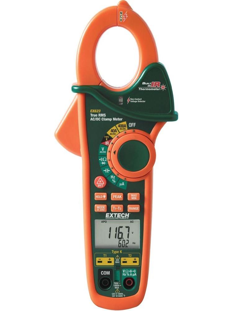 Extech Klešťový ampérmetr TRUE-RMS + infra-teploměr EX623