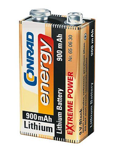 Conrad Lithiová destičková baterie 9 V - 900 mAh