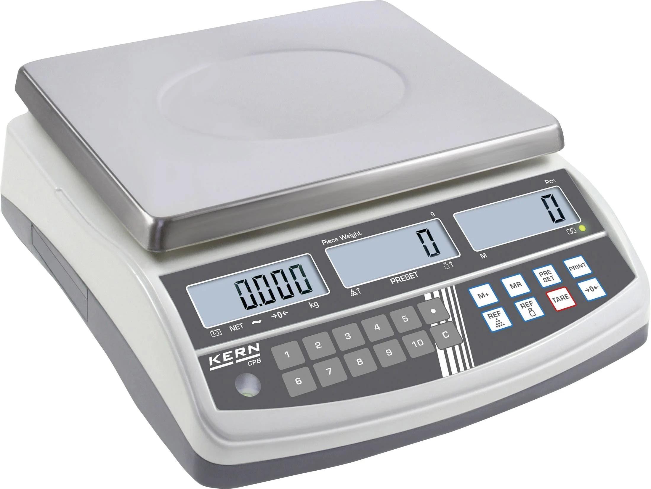KERN Přesná počítací digitální váha se třemi displeji do 15 kg