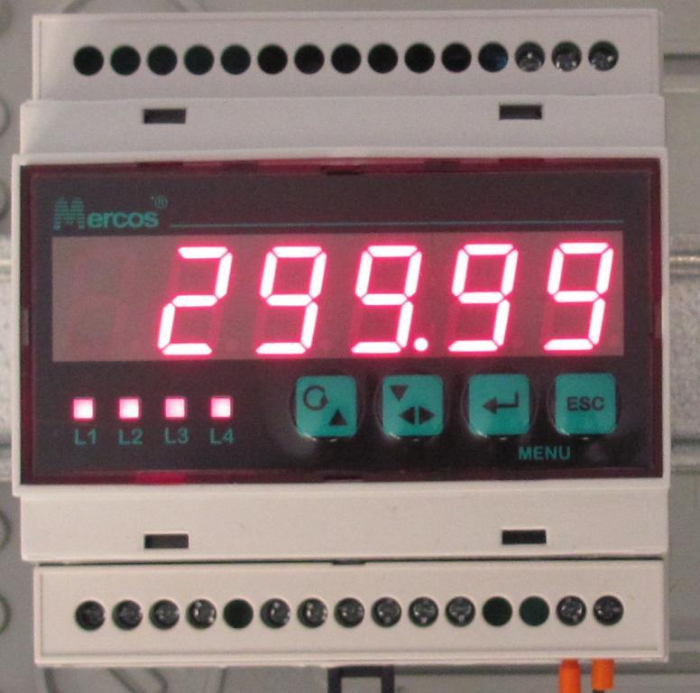 MERCOS Digitální ukazatel na DIN lištu s příslušenstvím pro analogové signály