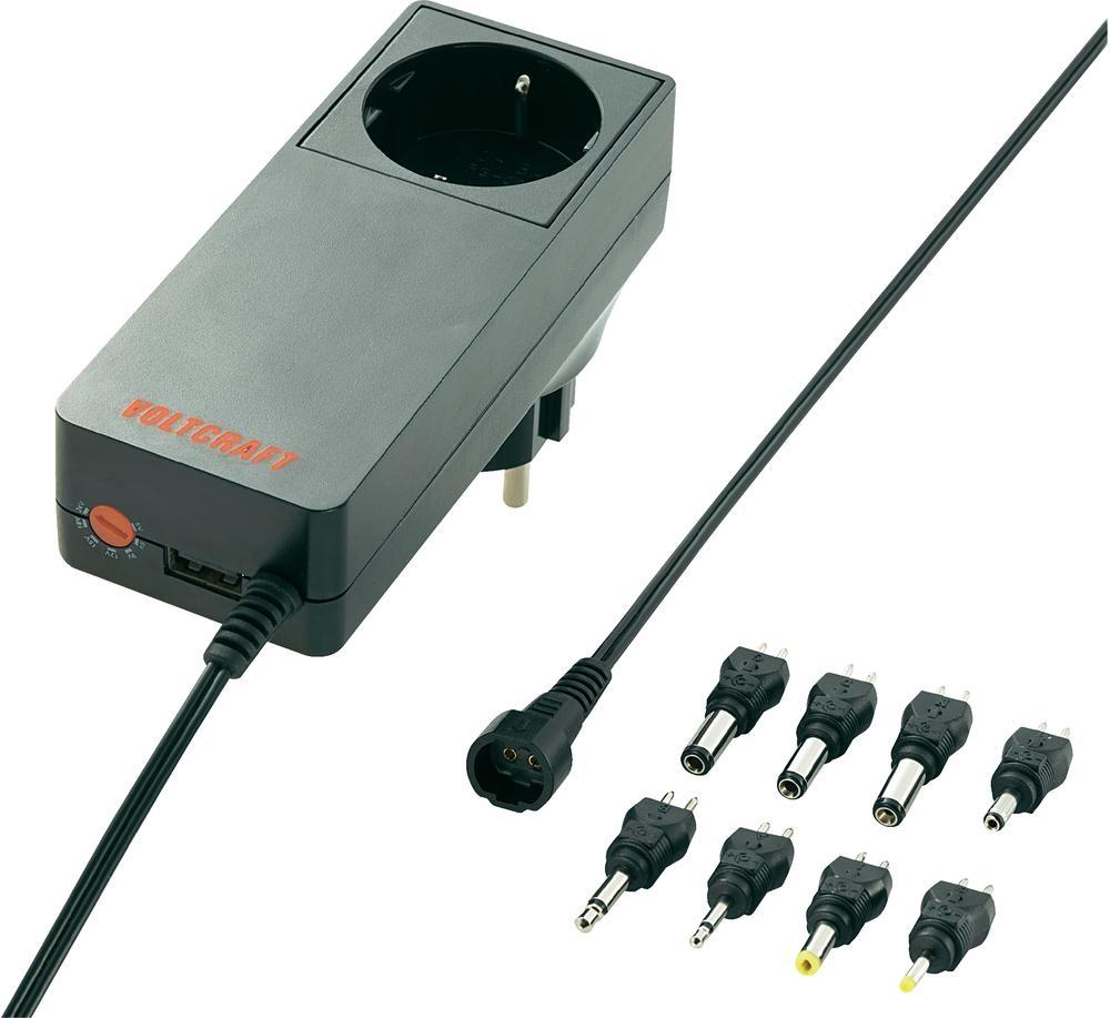 Síťový adaptér s redukcemi Voltcraft Plug-18W, 5 - 24 V/DC, 18 W