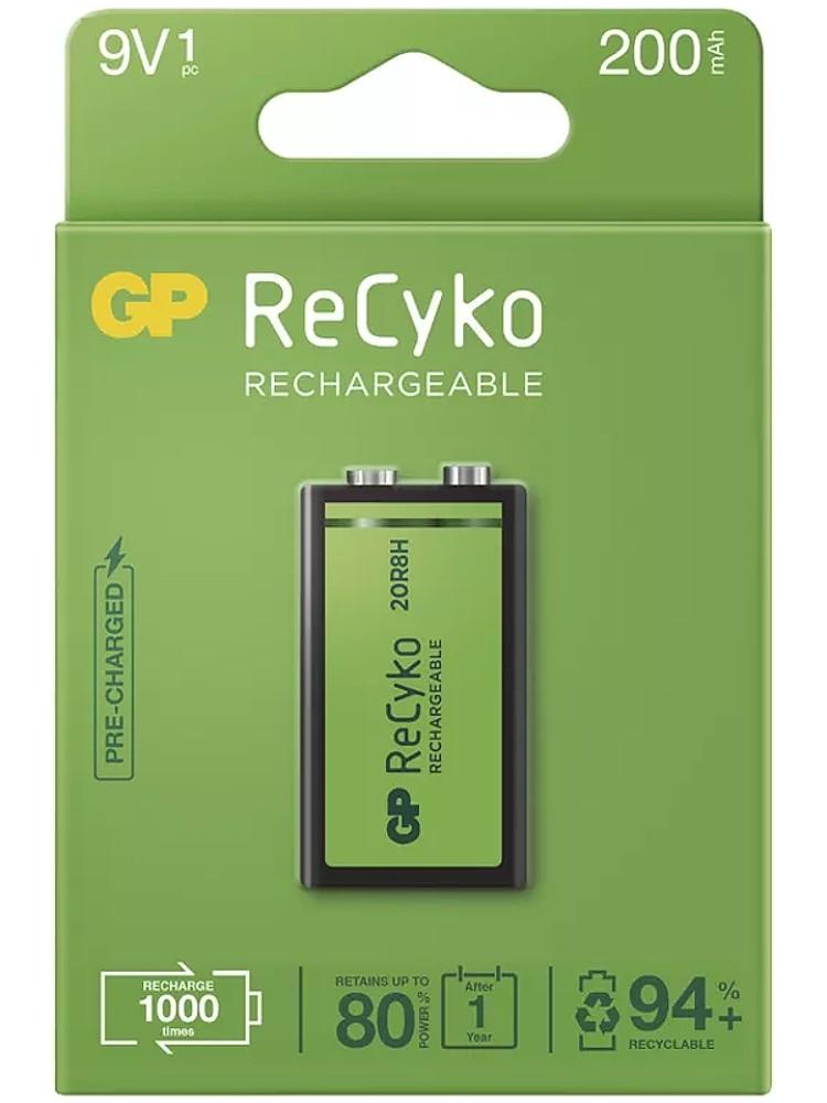 Nabíjecí baterie GP Recyko+ 6F22 (9V), 200 mAh, krabička
