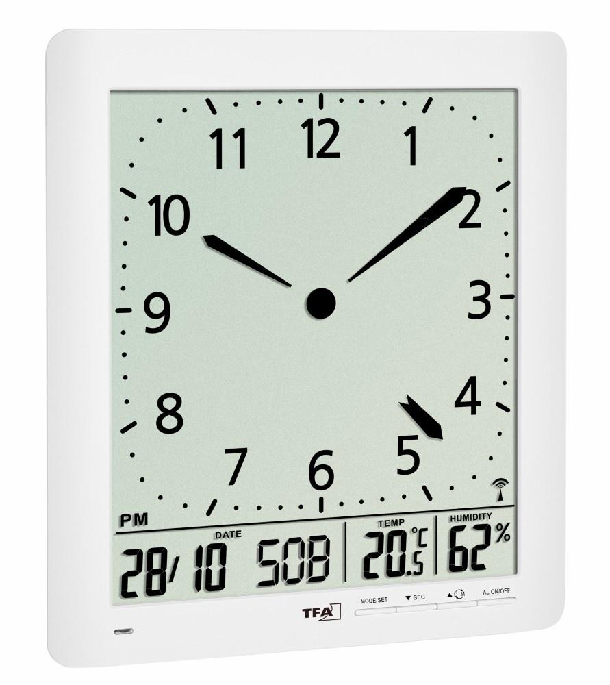 TFA Dostmann Nástěnné DCF hodiny TFA 60.4515.02 s češtinou a teploměrem/vlhkoměrem