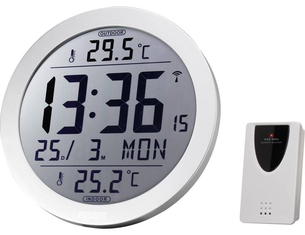 DCF nástěnné hodiny Eurochron EFW 4001, vnější Ø 210 mm, stříbrná