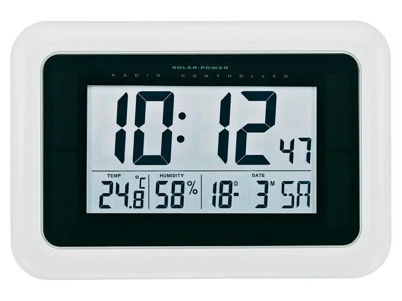 Conrad Solární nástěnné DCF hodiny, KW9101, 280 x 190 x 23 mm, bílá