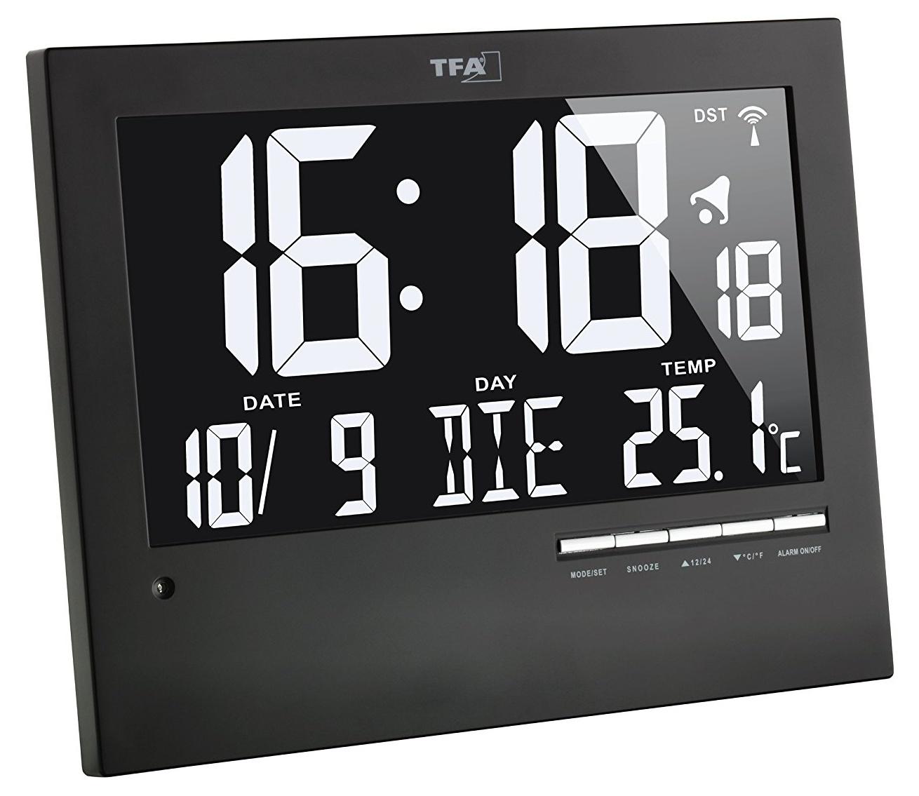 TFA Dostmann Inverzní nástěnné DCF hodiny s podsvícením TFA 60.4508, 185 x 230 x 31 mm, černá