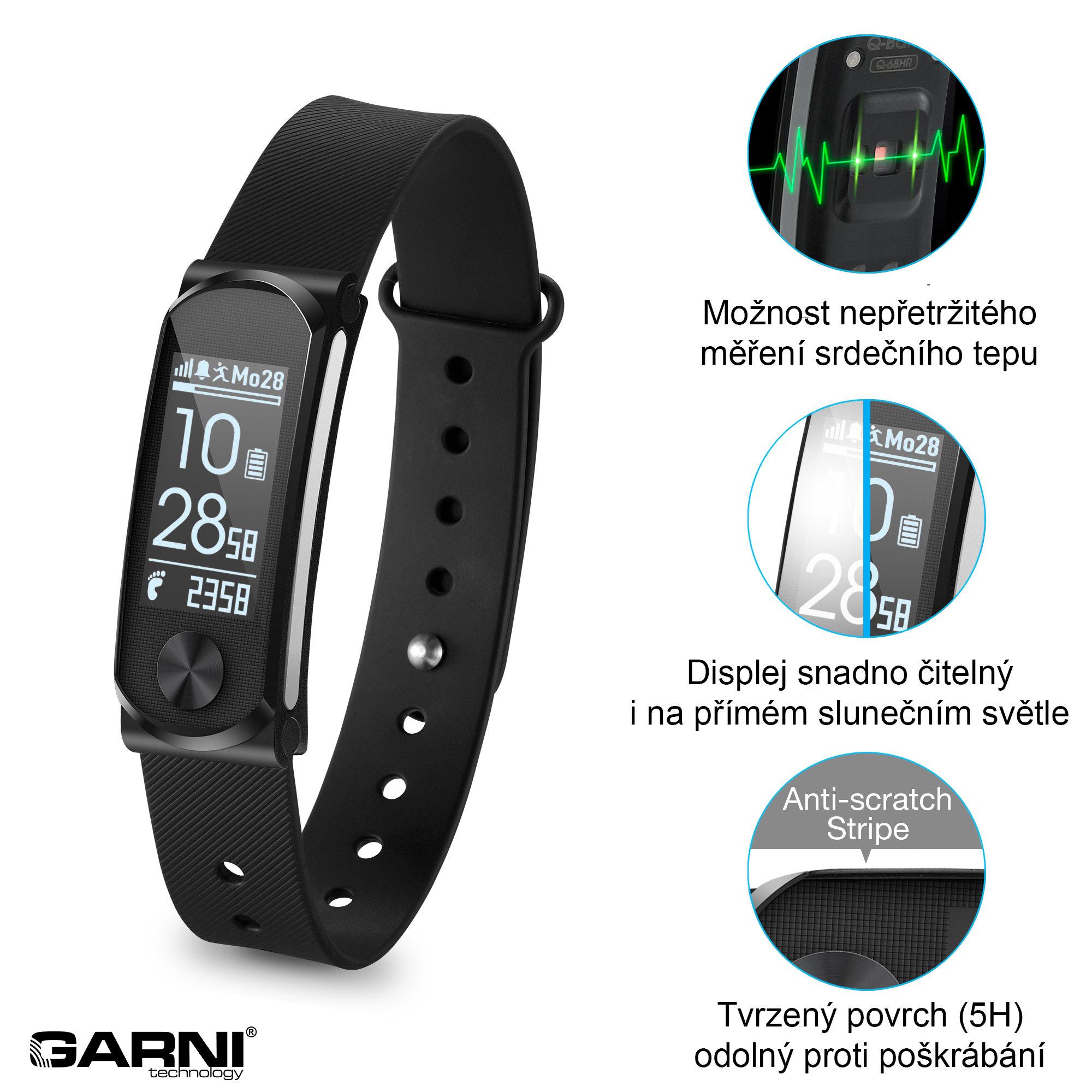 Garni technology Fitness náramek s měřením tepové frekvence, GARNI Q-68HR