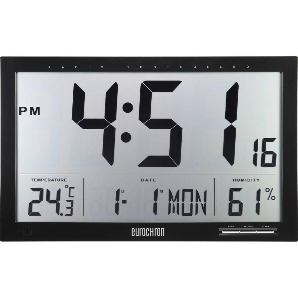 Conrad Digitální nástěnné DCF hodiny s teploměrem Jumbo, 370 x 230 x 30 mm, černá