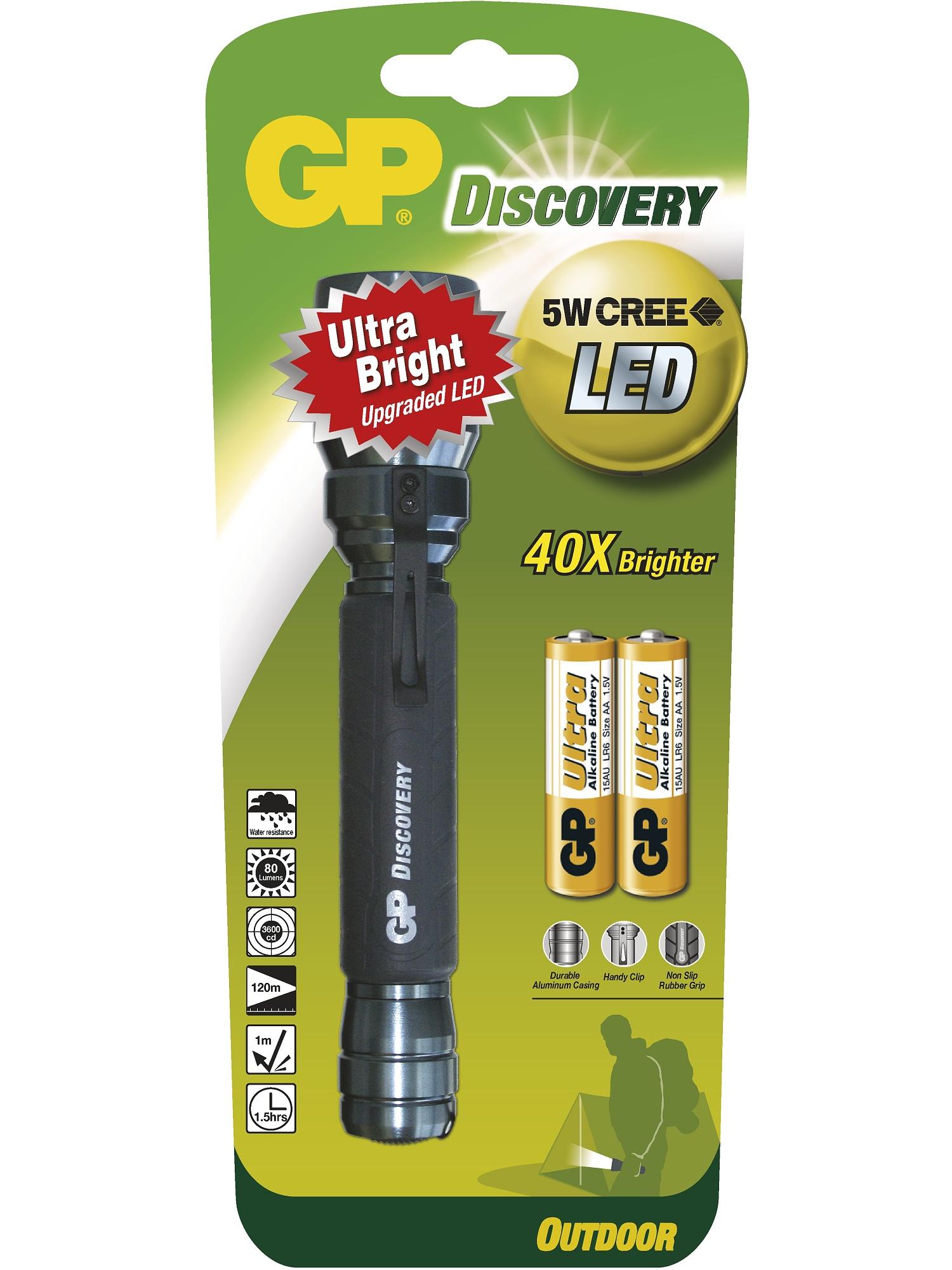Značková LED svítilna GP LOE102 Discovery Outdoor - 5 Watt CREE LED, 2x AA