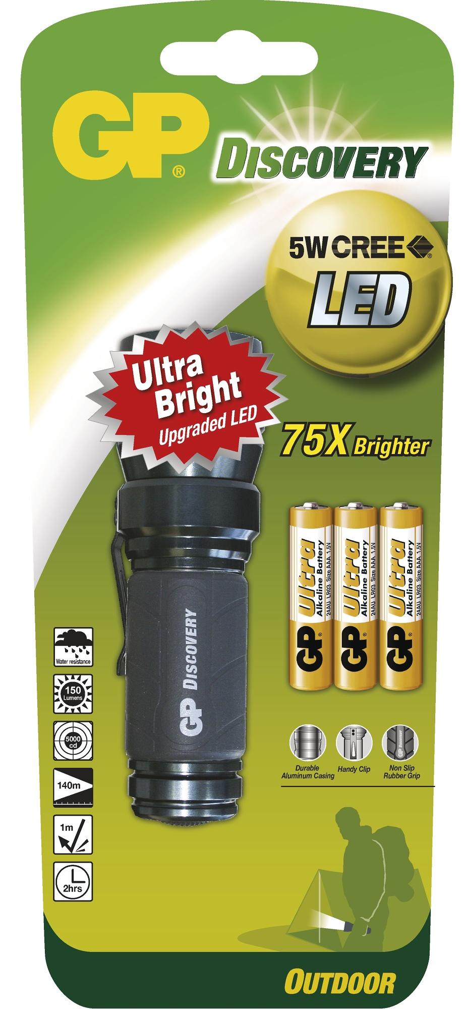Značková LED svítilna GP LOE203 Discovery Outdoor - 5 Watt CREE, 3× AAA