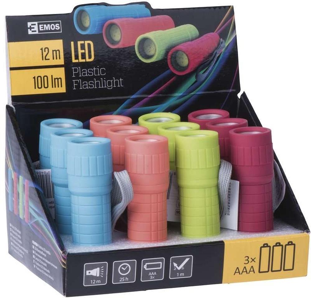 Emos LED svítilna plastová zelená, 1x COB LED 1W, na 3x AAA
