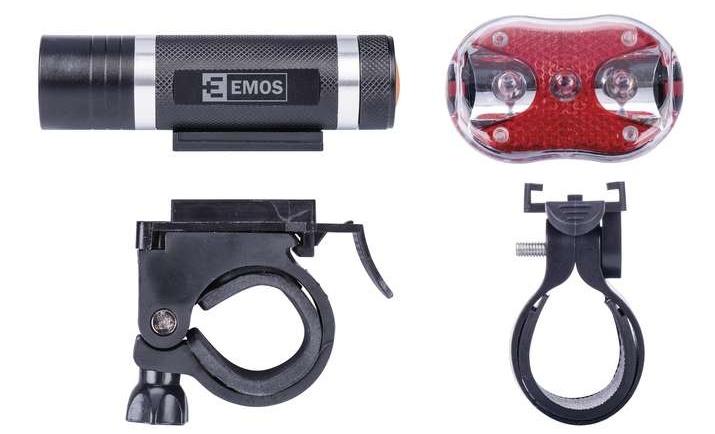 Svítilna na kolo SET 1+3× LED, na 3+2× AAA, přední+zadní, Emos P3920