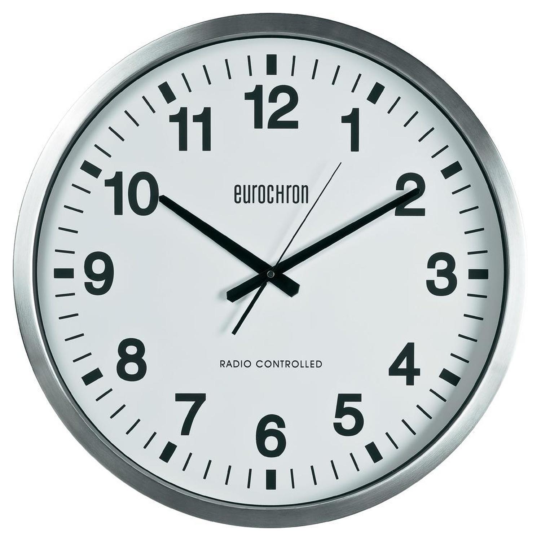 Velké nástěnné DCF hodiny Eurochron EFWU 9000, Ø 50,7×6,3 cm, stříbrná