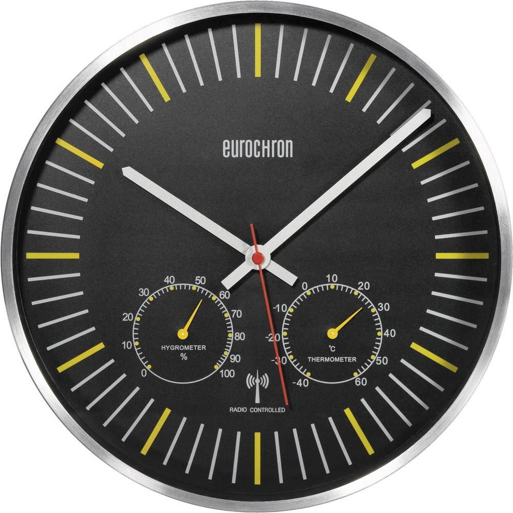 Analogové DCF nástěnné hodiny s tep./vlh. Eurochron EFWU 6402, Ø 30,5 x 5 cm, hliník/černá