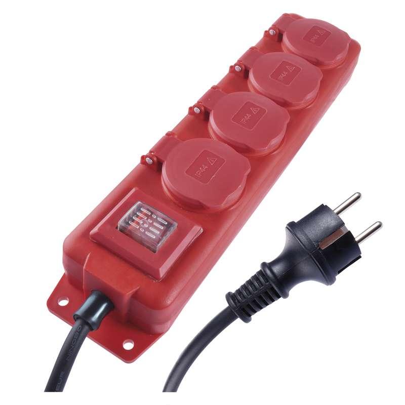 Emos Prodlužovací kabel gumový 4 zásuvky 3m, červený | P14131
