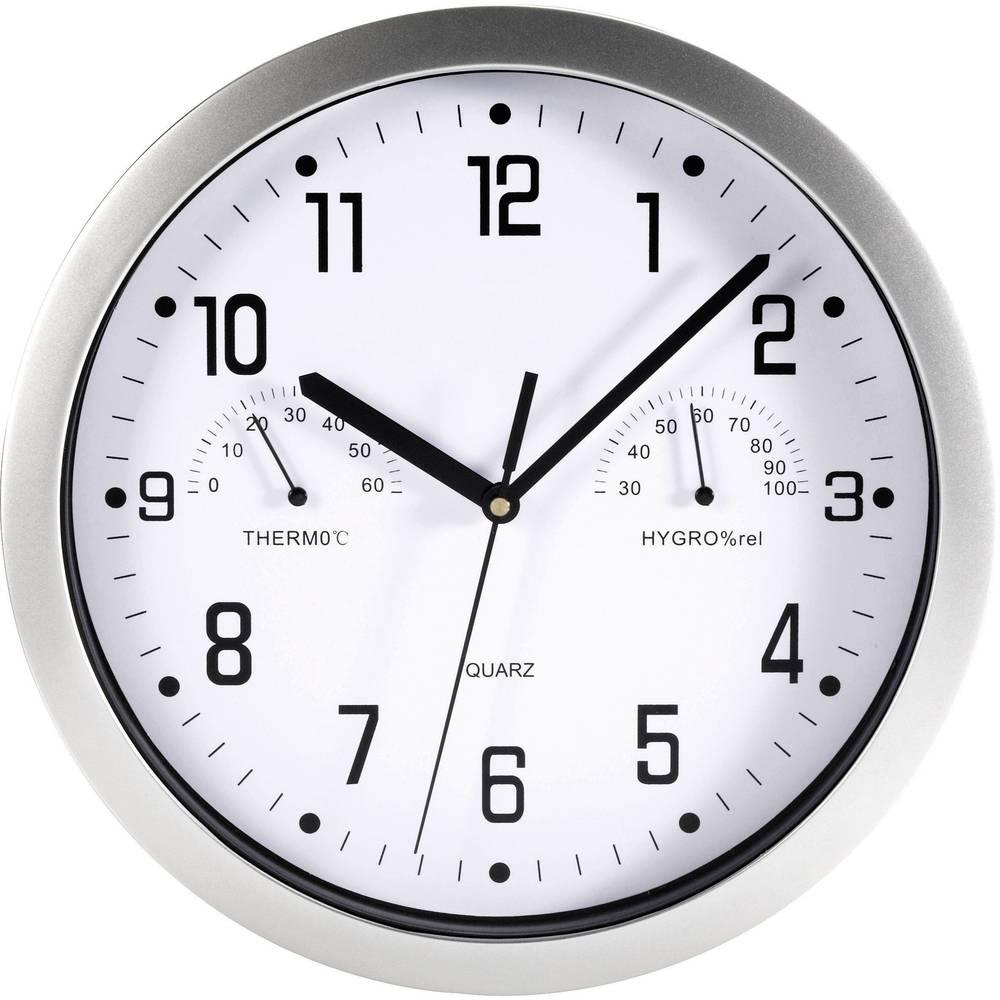 Mebus Analogové nástěnné hodiny s teploměrem/vlhkoměrem, 06992, Ø 25,5 cm