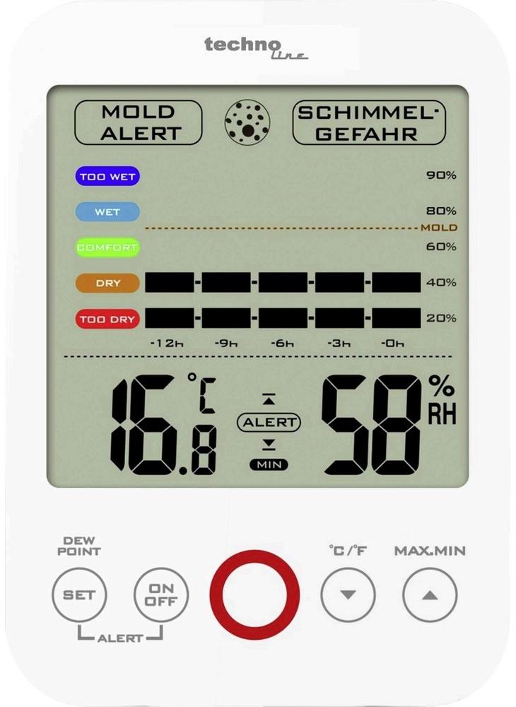 Techno Line Vlhkoměr-teploměr TechnoLine WS 9422; vlhkostní alarm, historie až 12 hod.; MIN/MAX; rosný bod