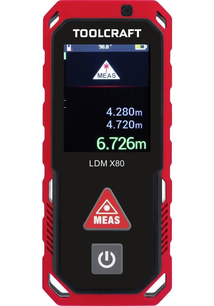 Laserový měřič vzdálenosti TOOLCRAFT LDM X80, max. rozsah 80 m