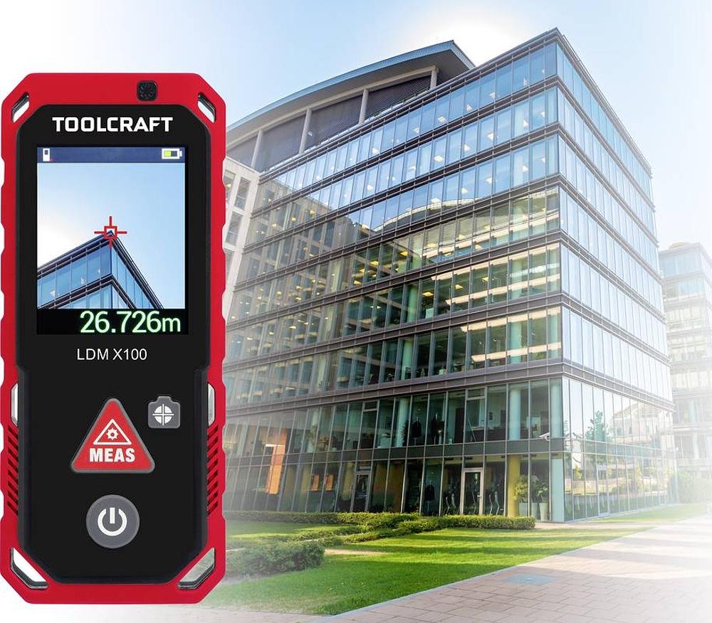 Laserový měřič vzdálenosti TOOLCRAFT LDM X100, TO-4800057, max. rozsah 100 m