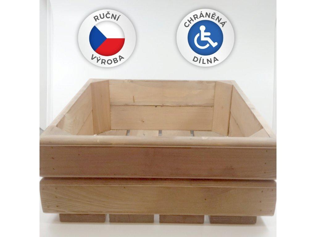 Dřevěný truhlík 38x38x15cm