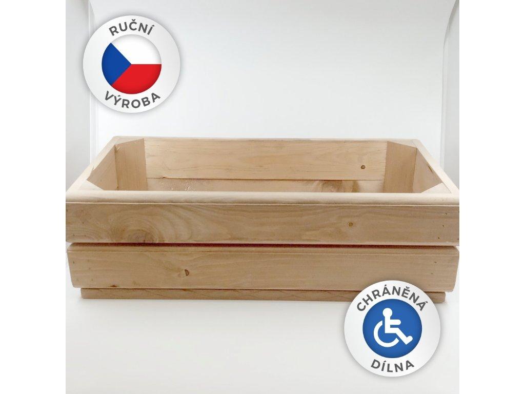 Dřevěný truhlík 50x24x15,5cm
