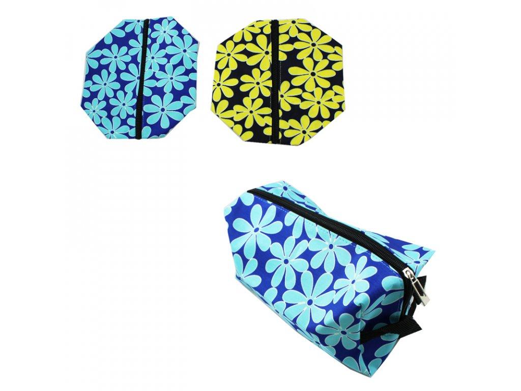 Kosmetická taška květy 25x10x15cm - modrá