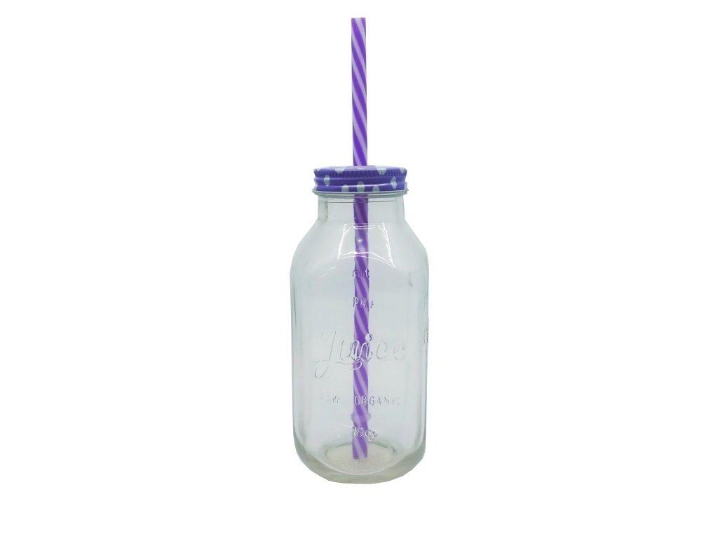 sklenice s brčkem lila