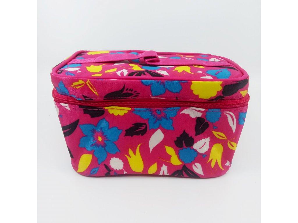 kosmetický kufřík se zrcátkem růžové květy