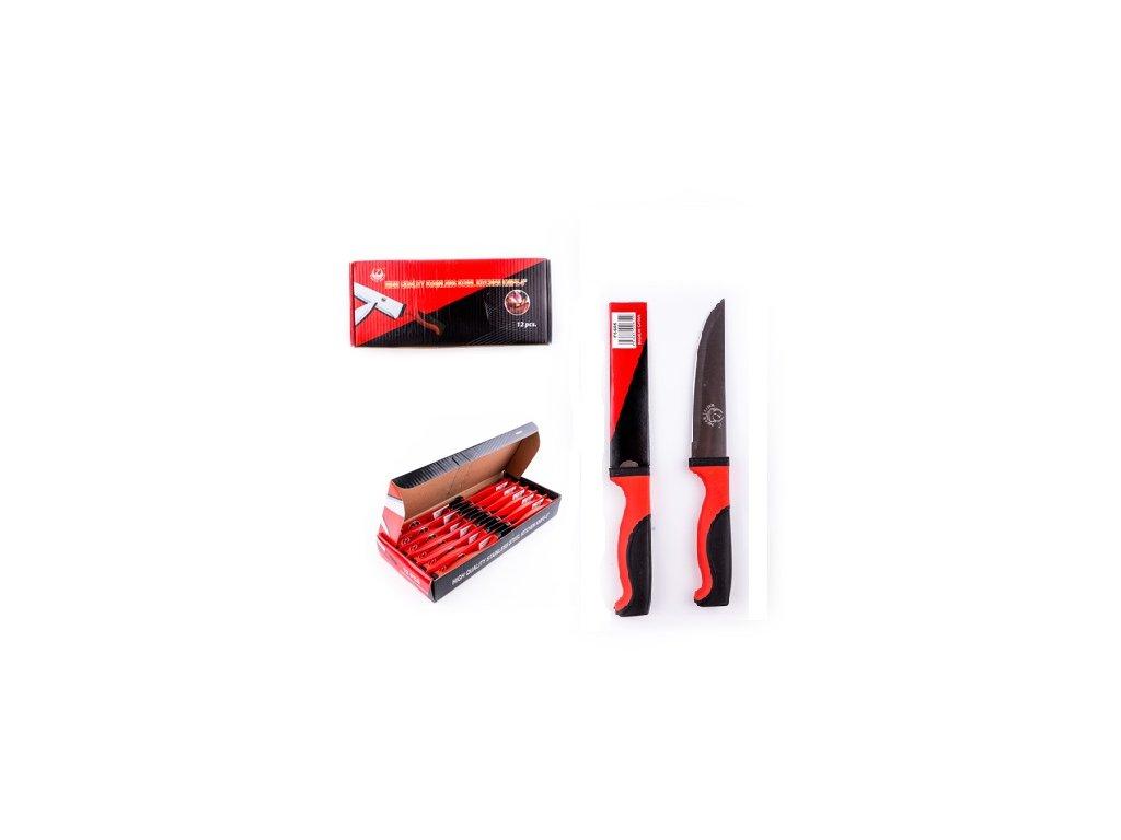 Kuchyňský nůž černo-červený 34 cm