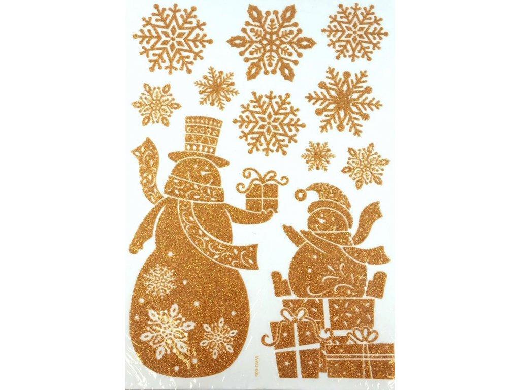 samolepka sněhulák s dárkem