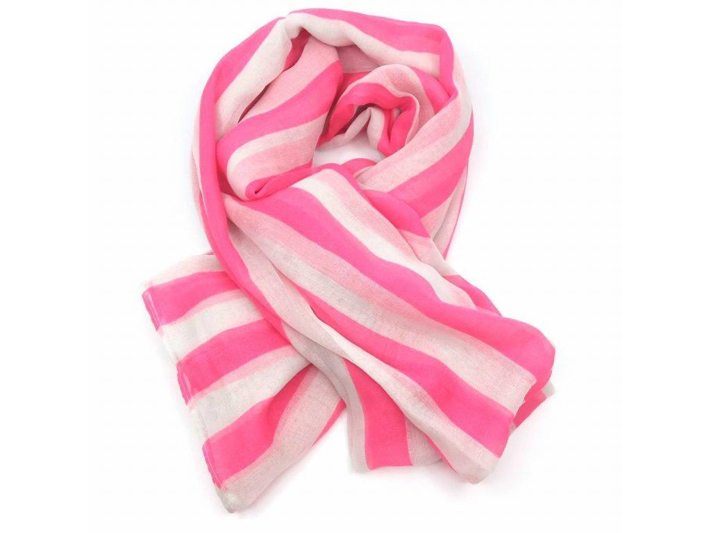 šátek růžové pruhy
