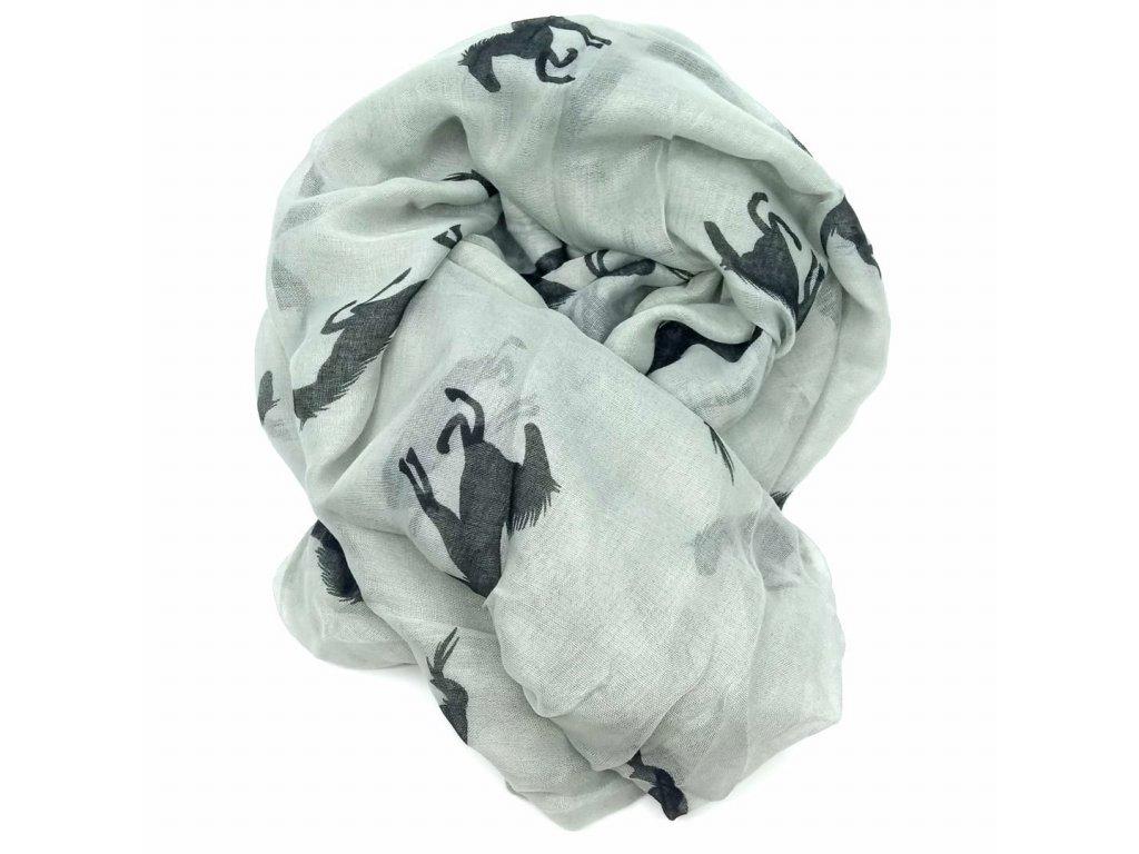 šátek šedý koně