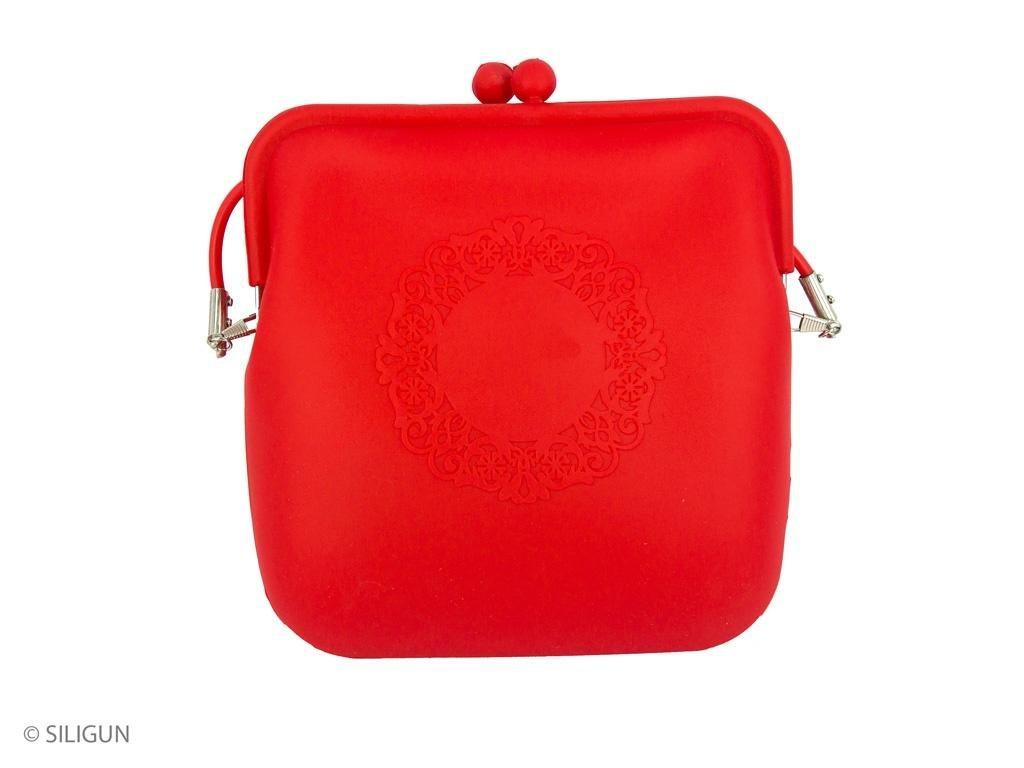 kabelka červená ornament